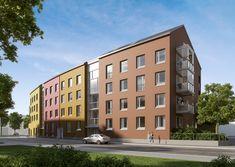 As. Oy Helsingin Umbra on ensimmäinen Skanskan kohde, joka valmistuu Kuninkaantammeen. (visualisointi) / Visualization of Helsingin Umbra, the first of Skanska's new apartment buildings in Kuninkaantammi.
