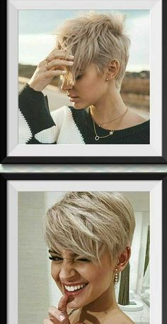 Stylish Pixie Haircuts Every Women Should See. We collect really attractive modern blonde pixie cuts, layered long bangs pixies, thick hair styles Short Hair Cuts, Short Hair Styles, Pixie Cut Styles, Short Hair In Back, Straight Bangs, Short Beard, Cute Pixie Haircuts, Blonde Pixie Haircut, Undercut Pixie Haircut