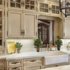 Adorable antique kitchen cabinets: French Country Look Unique Glass Kitchen Cabinet With Seeded Glass Cabinet Doors Antique Kitchen Cabinets, Country Kitchen Cabinets, Island Kitchen, Kitchen Cupboards, Kitchen Ranges, Gloss Kitchen, Kitchen Country, Rustic Cabinets, Distressed Cabinets