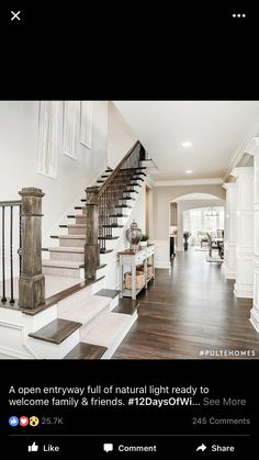 Open staircase. View to back yard from entrance. Open concept. Lots of natural light. Love!