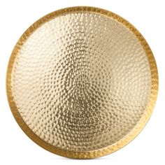 • Made of hammered aluminum with a golden finish<br>• 17.5 inches in diameter<br><br>The Hammered Round Serving Tray 17.5in Aluminum/Gold Finish from Threshold adds shine to your table. Use this serving platter to offer up rolls or place it on the table as a centerpiece with candles and greenery.
