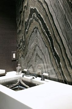 Calacatta Lincoln Marble Countertop and Silver Brown Wave Marble Full Bathroom Wall by Atlanta Kitchen | by CR Home Kitchen & Bath Design