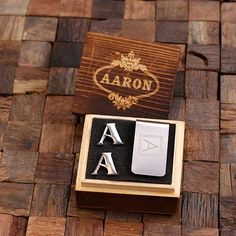 "Initials ""A-Z"" Personalized Men's  Stainless Steel Classic Cuff Link & Money Clip with Wood Box"