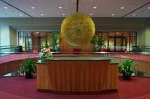 """The Golden Sun"", sculpture by Harry Bertoia, 1967.   7' in diameter and made up of 675 gold plated stainless steel branches.  This was commissioned by the James H. Whiting Auditorium for their lobby.  Flint, Michigan."