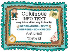 COLUMBUS INFORMATIONAL TEXT AND COMPREHENSION QUESTIONS  Are you looking for a quick and easy way to offer your readers some educational Columbus Day fun?   Not only will this product be fun and educational for your students, it's super easy for you! Just print! That's it!   There are six pages of Informational Text  followed by four comprehension questions.  #ColumbusDay #ColumbusInformationalText #ColumbusPrintables #ColumbusDayPrintables