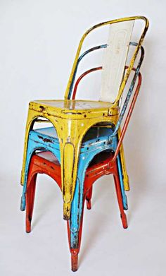 Very cool chairs! I love the patina. I would most likely use these on a patio or around a koi pond within landscaping.