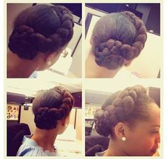 Another great style for short natural hair: Use 1/2 - 1 pack of kanekolan braid (color of choice :) then part a small section in front oil and brush well then cornrow hair in and fully plait  ends out. Pull next section back in a ponytail then wrap end of braids around ponytail following this pattern or any pattern that suits you. Love it!