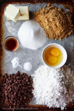 Simple ingredients for one fantastic Chocolate Chip Cookie