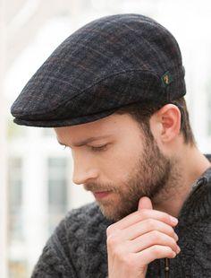 Irish paddy style cap in black tweed  936b21dba7a1