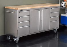 Store your tools and other implements in sleek style in the Trinity 72 in. Six feet long with ample drawers, it's a fantastic storage solution in the garage, the kitchen or anywhere else you want attractive, practical storage. Workbench On Wheels, Rolling Workbench, Workbench Stool, Garage Workbench, Tool Storage, Storage Spaces, Rolling Storage, Kitchen Storage, Storage Ideas