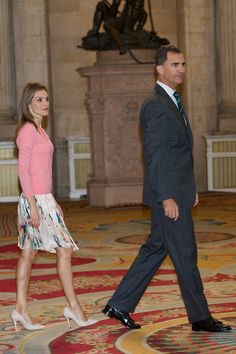 Spanish King Felipe VI and Queen Letizia receive 'Becas Europa' participants at The Royal Palace, 17.07.2014 in Madrid, Spain