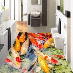 269.10$  Watch now - http://ali0dx.shopchina.info/1/go.php?t=32788704029 - Free Shipping rich carp playing water flooring wallpaper shopping mall study bathroom self-adhesive floor mural 269.10$ #bestbuy