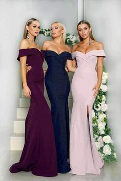 off the shoulder brides maid dresses Simple Mermaid Off the Shoulder Burgundy Elastic Satin Long Bridesmaid Dresses with Side Split Blush Bridesmaid Dresses, Bridesmaid Outfit, Nice Dresses, Girls Dresses, Prom Dresses, Maid Of Honour Dresses, Bridal Reflections, Wedding Party Dresses, Evening Gowns