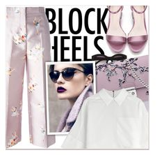 """""""Block Heels - Ballerina"""" by nastiarl ❤ liked on Polyvore featuring Rochas, Witchery, Kenzo, blockheels, polyvorecontest and howtowearit"""