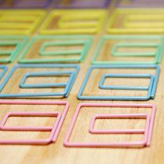 Square pastel paper clips