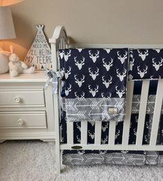 Navy Deer Crib Bedding Grey Arrows Crib by RitzyBabyOriginal