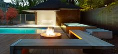 ideal outdoor living in Toronto-pool, hot tub, firepit, contemporary design in a traditional home setting in Rosedale by Toronto architects DMArchitects