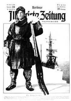 """Richard E. Byrd / Berl. Illustr. Ztg. Byrd, Richard Evelyn American admiral and explorer, 1888–1957.  Antarctic expedition 1928–30: """"The South Pole explorer (…) """".  Print after photomontage. Title page, Berliner Illustrirte Zeitung, year 38, no. 24 (published by Ullstein Berlin), 16 June 1929."""