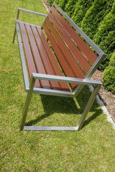 Decking scraps sculpted into industrial steel and wood bench Welded Furniture, Iron Furniture, Steel Furniture, Industrial Furniture, Pallet Furniture, Garden Furniture, Furniture Decor, Furniture Design, Outdoor Furniture