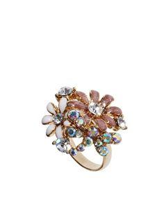 Talullah Tu Enamel Crystal Daisy Ring