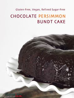 Gluten-Free Vegan Chocolate Persimmon Bundt Cake {Refined Sugar-Free} + A quick tutorial on baking with persimmons!