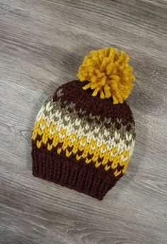Chunky Fair Isle Kids Knit Hat / Rowling Hat - For kids and adults!