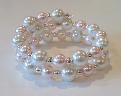 Light Pink & White Glass Pearl Memory Wire Bracelet with Silver Plated Spacer Beads
