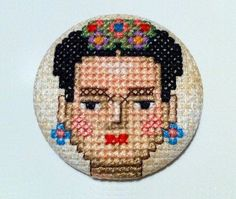Items similar to Brooch Frida Kahlo - Cross Stitch - Unique - Handmade on Etsy Mini Cross Stitch, Modern Cross Stitch, Cross Stitch Designs, Cross Stitch Patterns, Embroidery Applique, Cross Stitch Embroidery, Arte Nerd, Crochet Cross, Cross Stitching