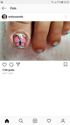 Acrylic Nails At Home, Pedicure Nail Art, Butterfly Nail, Toe Nails, Tattoos, Style Ideas, Work Nails, Frases, Pretty Toe Nails