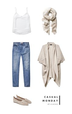 — white slip-on top, boyfriend jeans, wilfred mosaic scarf neutral sweater, jeffrey campbell loafers Jean Outfits, Casual Outfits, Summer Outfits, Cute Outfits, Fashion Outfits, Fashion Trends, Sagada Outfit, Spring Summer Fashion, Autumn Fashion