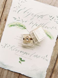 Unique marquise diamond ring: Calligraphy: Papers Ribbons - www.papersribbons.com/ Ring Box: The Mrs Box - themrsbox.com Photography: Oliver Fly Photography - www.oliverfly.com   Read More on SMP: http://www.stylemepretty.com/2017/04/27/tropical-wedding-inspiration/