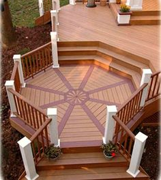 Here is an interesting octagon deck area off the main deck.