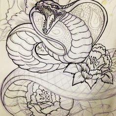 Havnt seen much Cobra tattoos. So kinda did my own japanese style cobra. #art #artist #artistofinstagram #tattooapprentice #tattoo #tatt #tattooart #drawing #illustrations #tattoodesign #design #cobra #snake #japanesetattoo #japaneseart #irezumi #linework #hhhsssss #peonies #flowers #floral