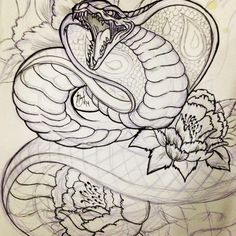 Havnt seen much Cobra tattoos. So kinda did my own japanese style cobra. #art #artist #artistofinstagram #tattooapprentice #tattoo #tatt #tattooart #drawing #illustrations #tattoodesign #design #cobra #snake #japanesetattoo #japaneseart #irezumi #linework #hhhsssss #peonies #flowers #floral