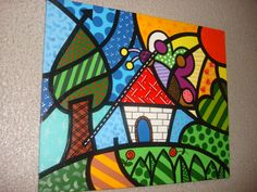 Amazing painting with patterns and colors by De férias! Painting Lessons, Painting For Kids, Art Lessons, Art Drawings For Kids, Art For Kids, Graffiti Art, Britto Disney, Arte Van Gogh, Arte Country