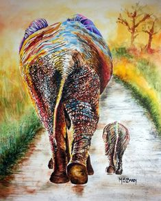 Elephant painting of mother and baby elephant. by MariaBarryArt