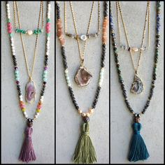 ❗️NEW STYLES AT LAST❗️Gemstone necklace bundles! ⇢ For $145 (Reg. $217) you'll recieve 1 short, 1 medium, and 1 long necklace.  ➳ Individual necklaces are also available!  To find all necklaces available just visit my closet and filter the categories to jewelry-necklaces!  These are all made with love in California and one of a kind! Function & Fringe Jewelry Necklaces