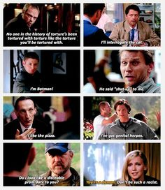 Supernatural funny LOL #such a sad tv show and funny at the same time #Crowley #Cas #Dean #Lucifer #Death #Sam #Bobby Singer #blond Ruby