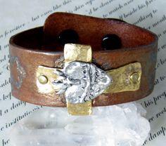Brass Cross Leather Stamped Cuff Bracelet  Bohemian Jewelry