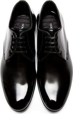 Dolce & Gabban black leather Derbys
