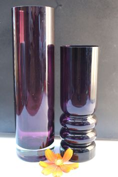 Lila  purple  Glas Vase Finland Glass 70er Space Age   Panton