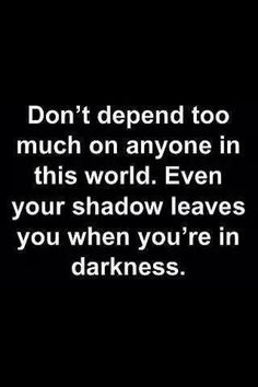 Don't depend on anyone in this world. Even your shadow leaves you when you're in darkness.