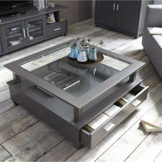 Table basse SLATE GREY 2 grands tiroirs double plateau dessus verre coloris gris ardoise prix 3 Suisses 285.00 € TTC