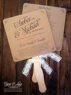 Wedding Program Fans Rustic Kraft & Lace DIY