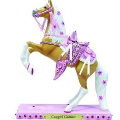 Cowgirl Cadillac Figurine , Let's be honest. all girls are 'horse crazy.' It starts when little girls put on their first pair of pink suede cowboy boots. Suede Cowboy Boots, Trail Of Tears, Painted Pony, Hand Painted, Pony Horse, Horse Gifts, Horse Sculpture, Love Painting, Beautiful Horses
