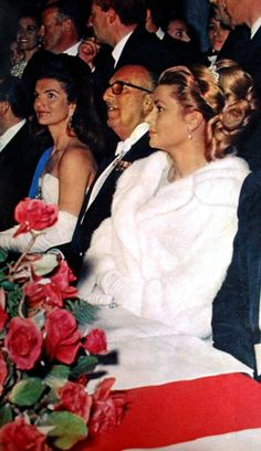 Jackie Kennedy and Princess Grace at Spain's Debutante Ball at the Palace De Pilatos in Seville (Spain) in April 1966. Margriet (Dutch) July 1966