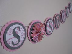 Pink and Gray Love Is Sweet Banner - Grey and Pink Garland - Bridal Shower Candy Station sign by AshleyAnnaMarie