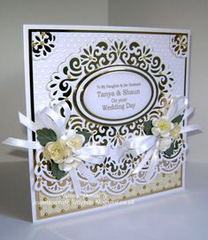 Using this design again for a Wedding Card - mixing Creative Expressions/ Sue Wilson's Gemini Die Pyxis, with Spellbinders Heirloom Ovals and Dainty Dots Embossing Folder. Also using Joy Crafts Ovals. Flowers from Wild Orchid Crafts.