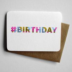 Birthday card  BIRTHDAY  Hashtag Birthday by 4four on Etsy, $4.00