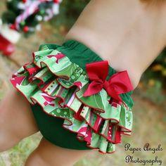 LIMITED Christmas Tree Ruffled Bottom Bloomer/Diaper Cover - Newborn, 0-3mths, 3-6mths, 6-12mths, 12-18mths, 18-24mths